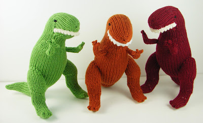 knit t rex toy tyrannosaurus green orange red