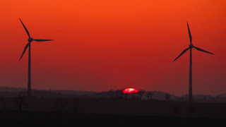 Wind Turbines and Sunset
