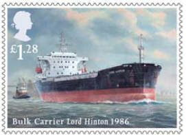 Stamp showing Bulk Carrier Lord Hinton 1986.