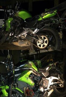 Foto Motor Kawasaki e650 UJE, Sebelum dan Sesudah Kecelakaan