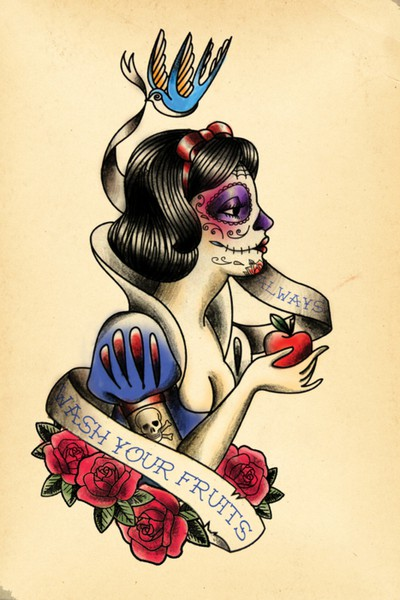Once upon a blog little dead riding hood for Old school day of the dead tattoo