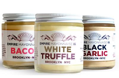 3 bottles of mayonnaise: bacon, white truffle and black garlic