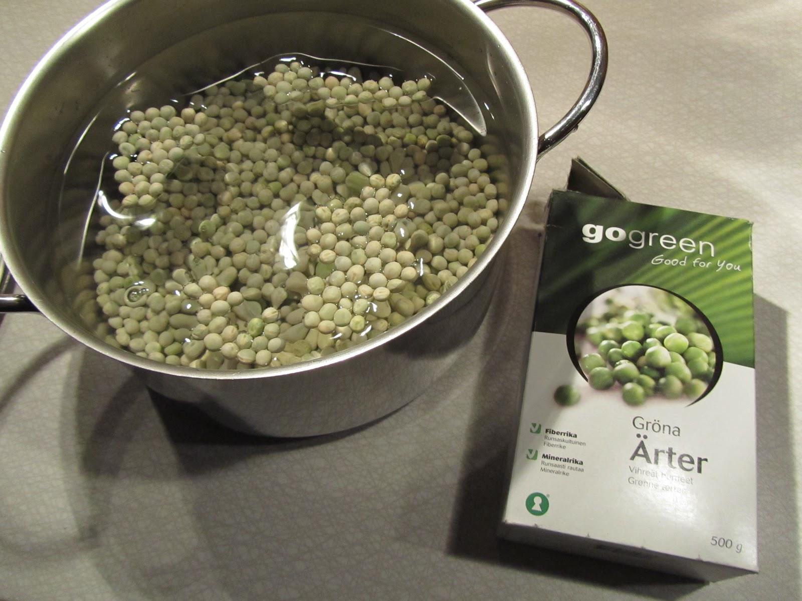 torkade gröna ärtor recept