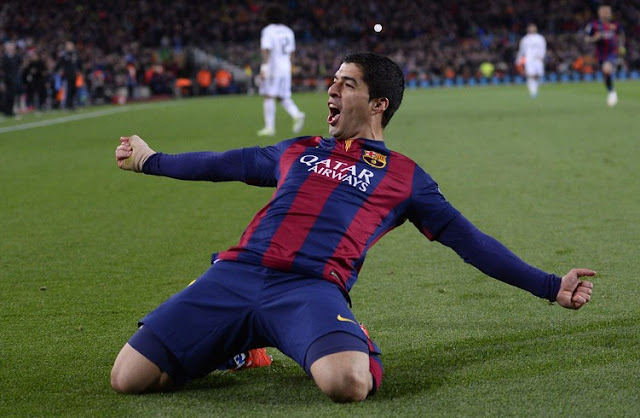 Luis Suarez goal celebrations in El Clasico