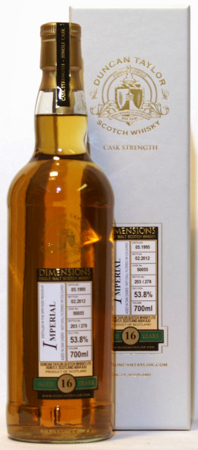 Imperial 16yo 1995 53,5% ABV, bottled by Duncan Taylor