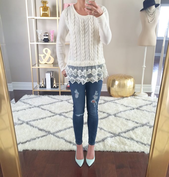 Anthropologie lace dipped pullover sweater AG distressed stevie ankle petite jeans Jcrew elsie mint leather pumps