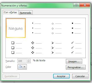 numeración y viñetas Powerpoint 2007