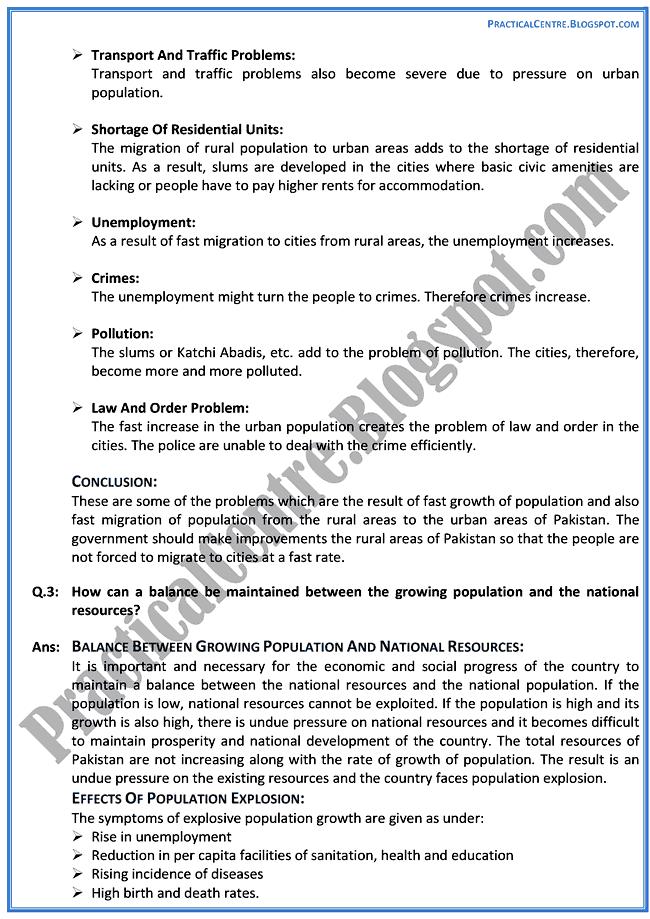 the-population-in-pakistan-descriptive-question-answers-pakistan-studies-9th