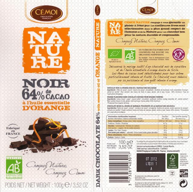 tablette de chocolat noir gourmand cémoi nature noir à l'huile essentielle d'orange 64