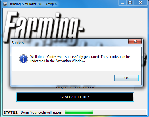 Game generator will generate a CD-Key for the game Farming Simulator