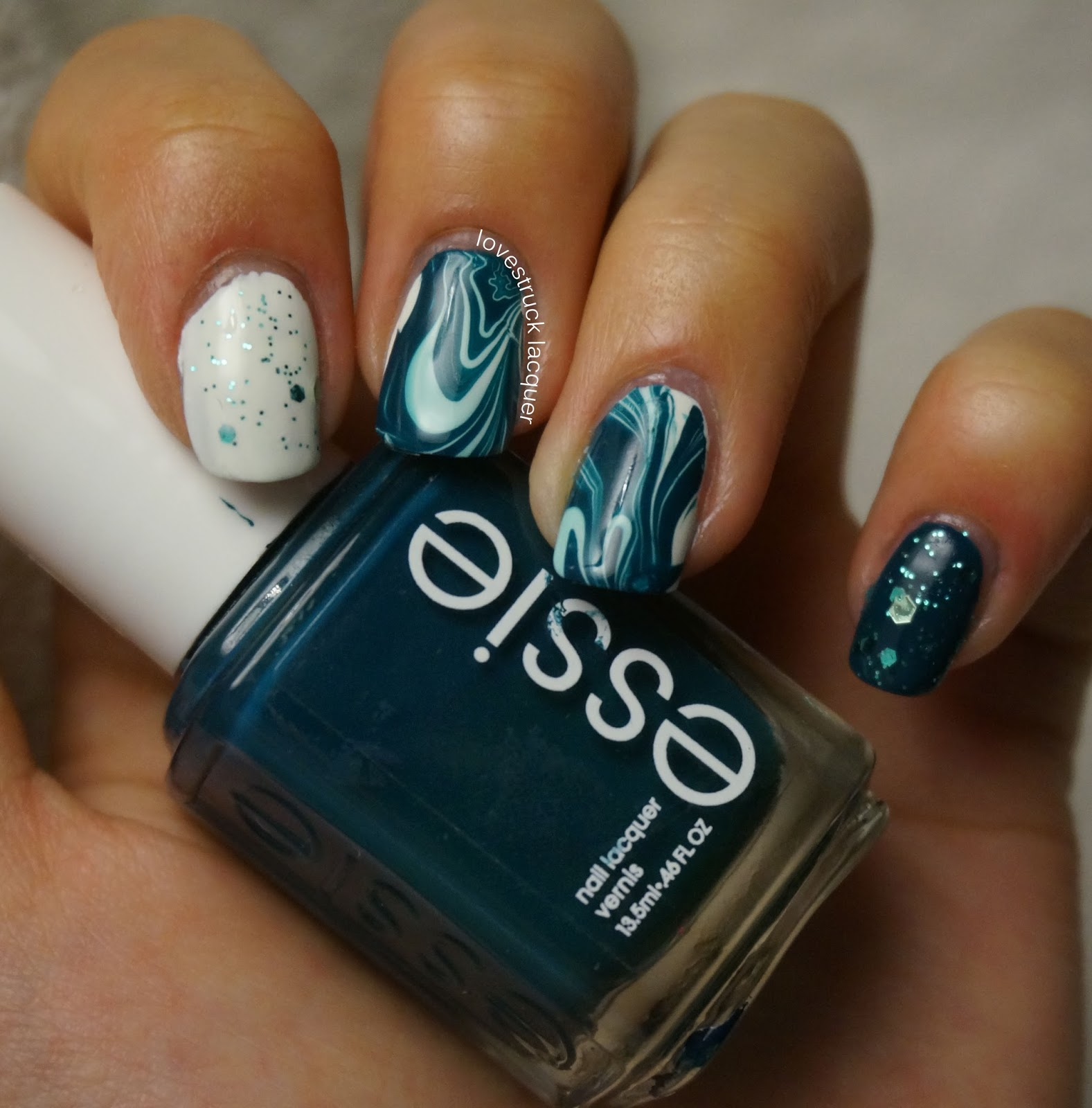 Lovestruck Lacquer Busy Girl Nails Winter Nail Art Challenge Teal