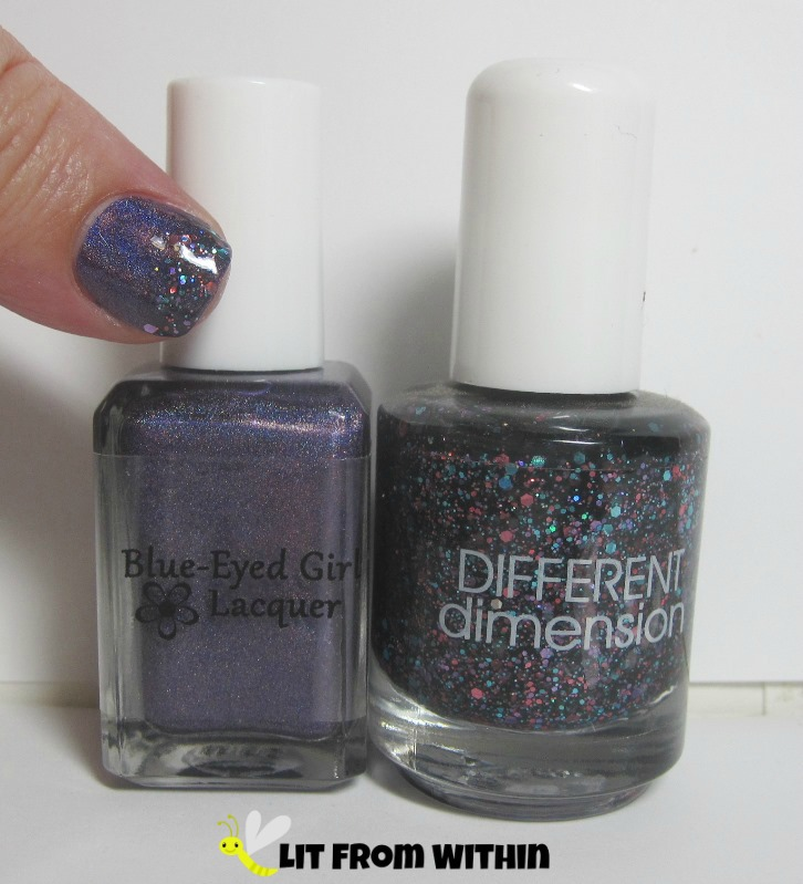Bottle shot:   Blue-Eyed Girl Lacquer BEG Love, and Different Dimension Orbital