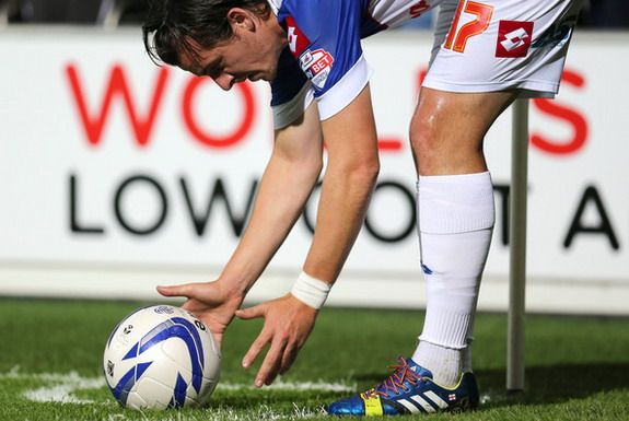 Joey Barton wears rainbow coloured laces as part of a campiagn against homophobia in football