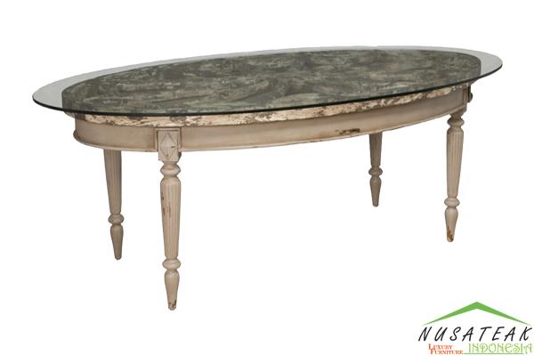 Oval Glass Carved Coffee Table - Nusa Teak