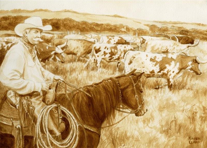 26-Cowboy-Karen Eland-Vintage-Looking-Beer-and-Water-Paintings-www-designstack-co