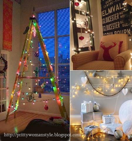 Коледна украса с коледни лампички