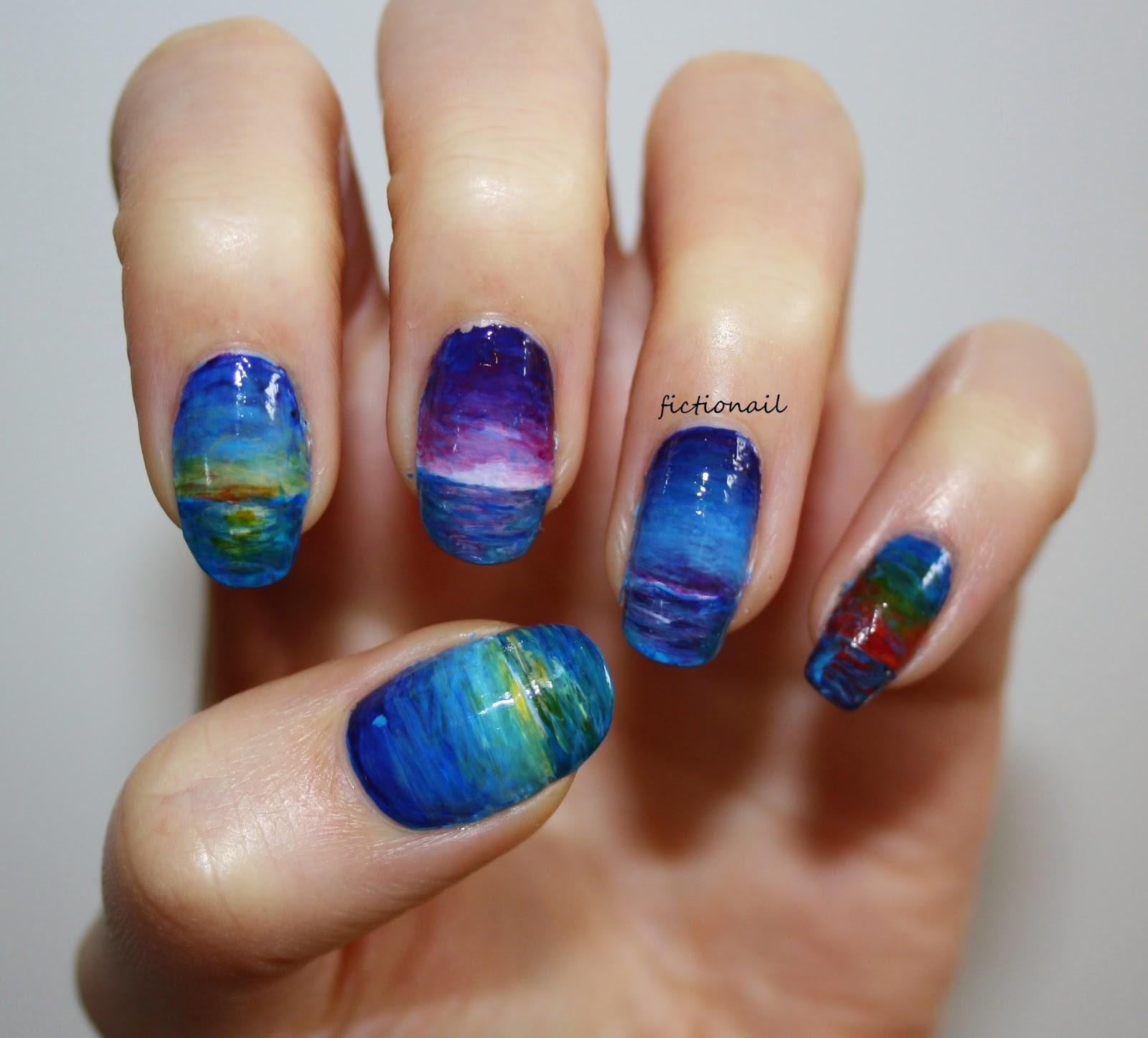 Sunset Palm Tree Nails