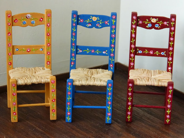 The chairs - 12th scale hand-made and hand-painted Portuguese typical painted furniture by Miniatures Forever