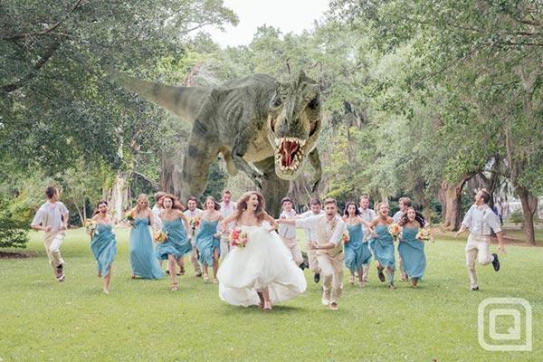 T-rex Attack Wedding Photo