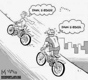 Electric bike cartoon about riding uphill