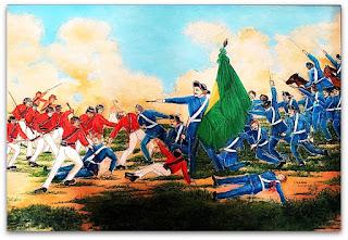 Imagem de quadro que retrata a Resistência de São Borja, durante a Guerra do Paraguai.
