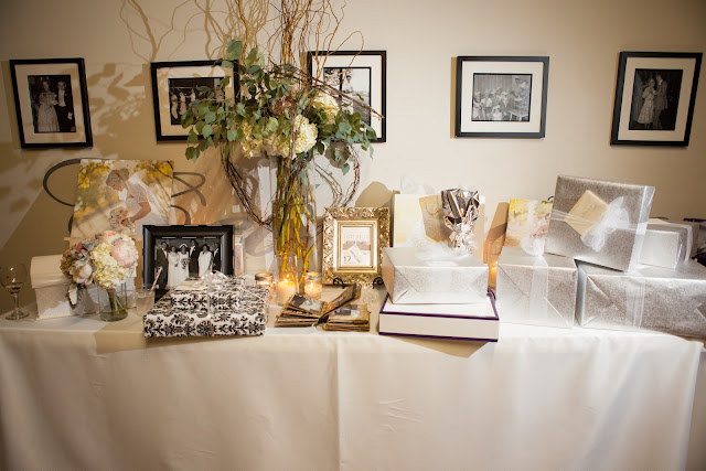 Wedding Gift Table Decor : The gift table was decorated with pictures of Laceys grandparents who ...