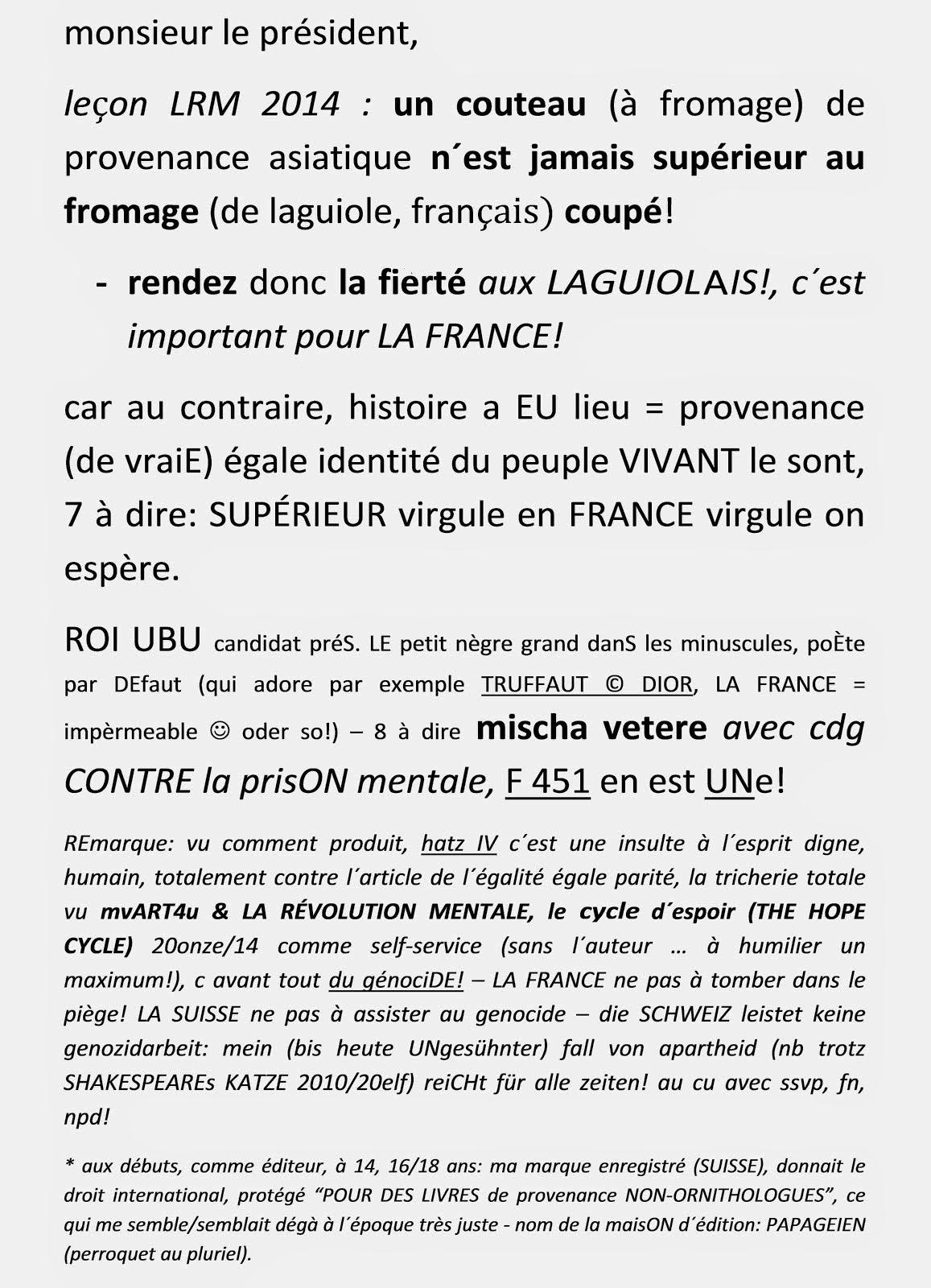fromage couteau LA FRANCE cercle d´espoir dignité laguiole peuple charles de gaulle mischa vetere