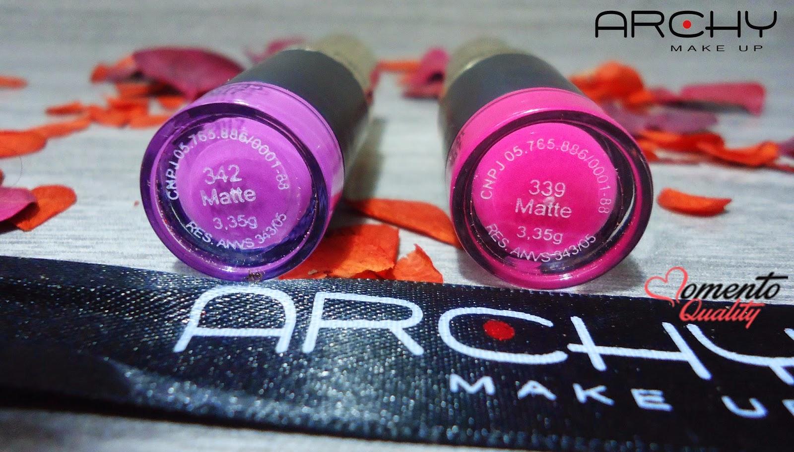 Batom Archy Make Up 342 e 339 Momento Quality