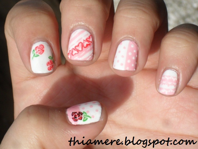 BFF Challenge:Girly Nail Art for short nails~ - On Beauty Stuff And What Else's....~: BFF Challenge:Girly Nail Art