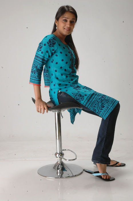 Nikitha in Blue kurti and Dark Blue Jeans for Women images