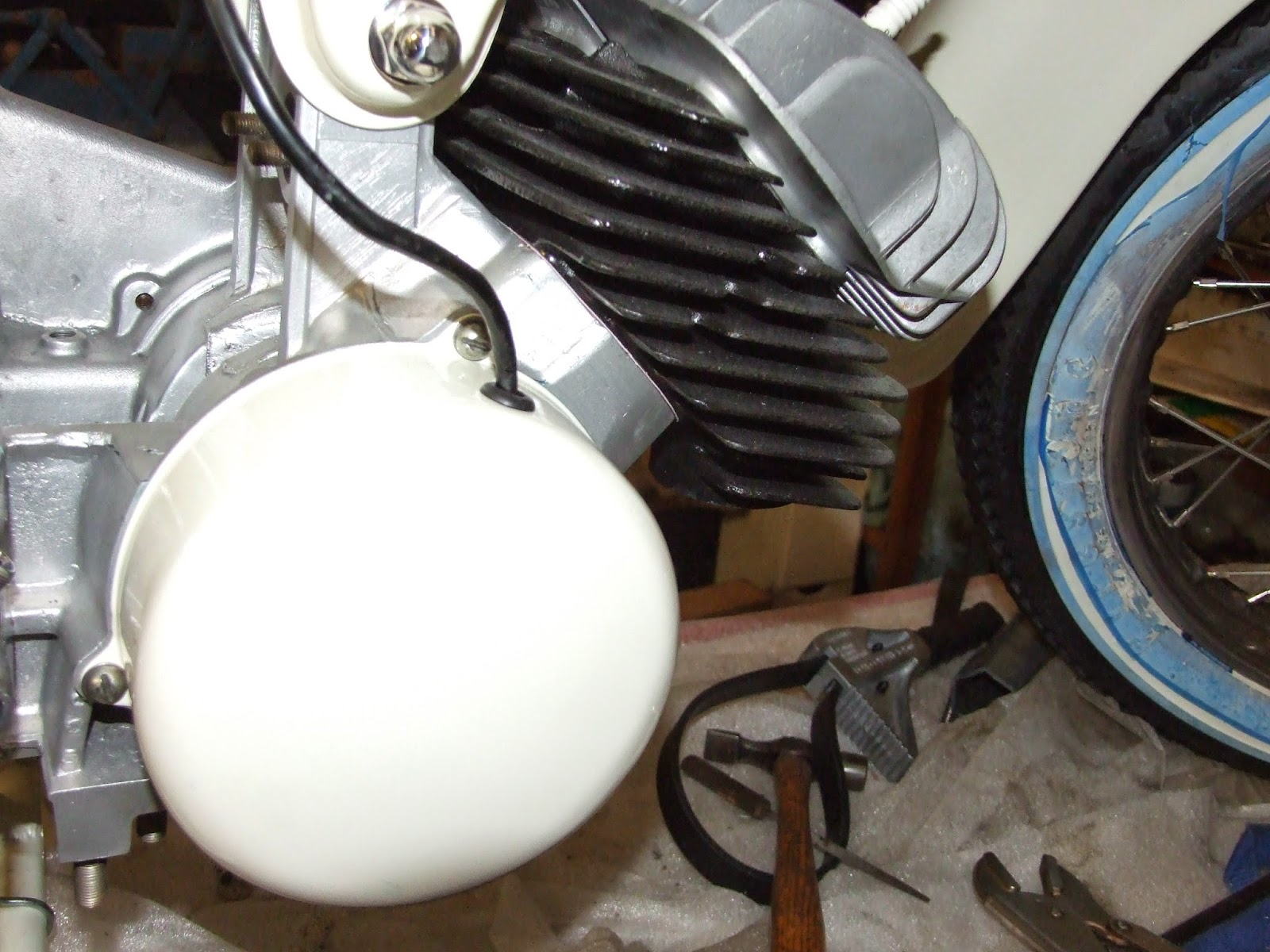 Classic Motorbikes February 2015 Wiring Diagram Grommet Key I Could Then Fit The Newly Painted Covering Cap Over Alternator And Pass Wires Through Hole In With A New To Stop It Rubbing