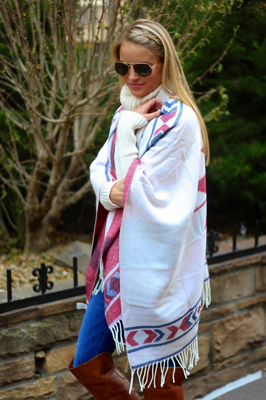 aviators, fall fashion, poncho, how to style a poncho, sweater, distressed denim, over the knee boots