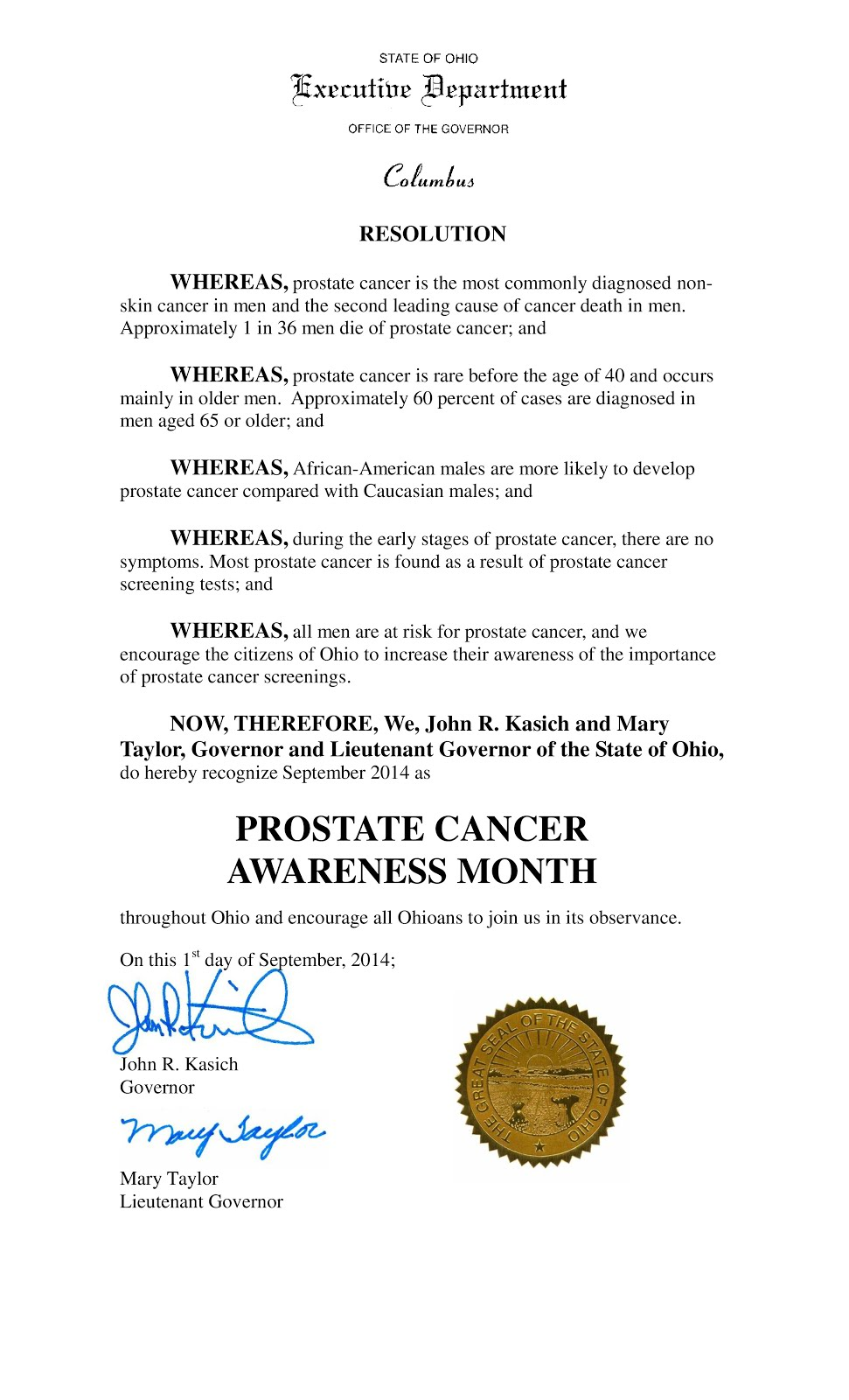 Prostate Cancer Awareness Month 2014