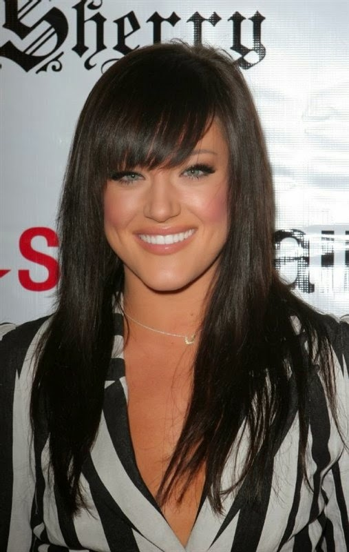 dark hair color with bangs