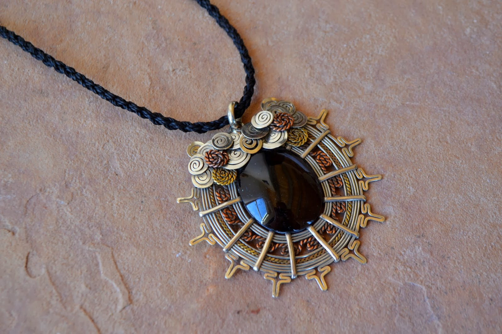 Obsidian Copper Bronze Silver Sun Necklace