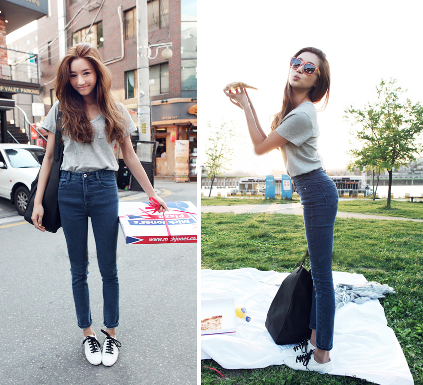 CL668 - Korean Style Denim High Waist Long Pants (Pre-Order
