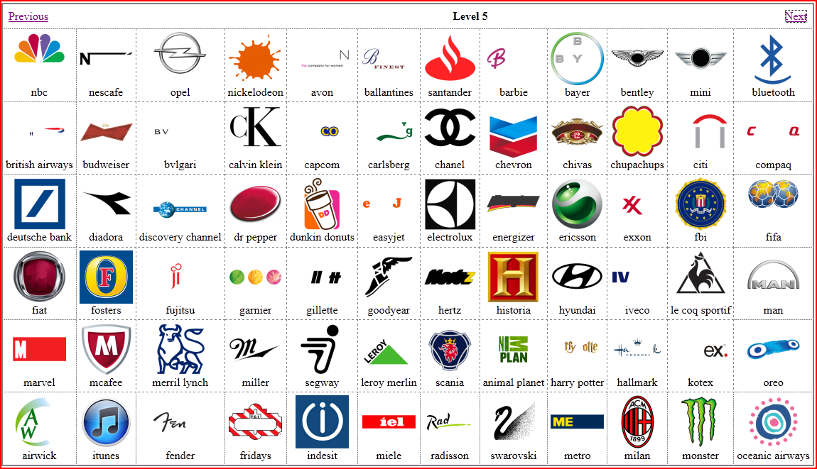 Logos Gallery Picture Quiz Game Logos