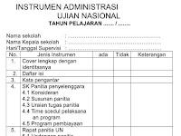 Contoh Format Instrumen Administrasi Ujian Nasional ( UN ) tahun 2016