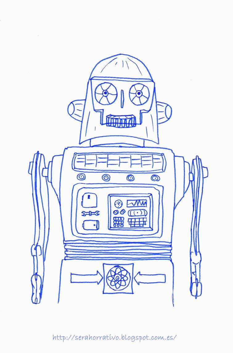 lámina colorear robot, dibujo colorear, gratis