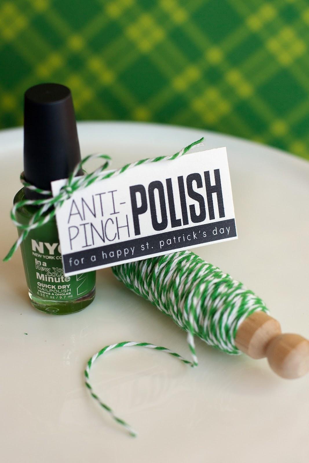 green nail polish and a anti pinch St. Patrick's tag
