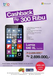 Microsoft Lumia 640 XL Dual SIM Cashback Rp 300 Ribu di Global Teleshop