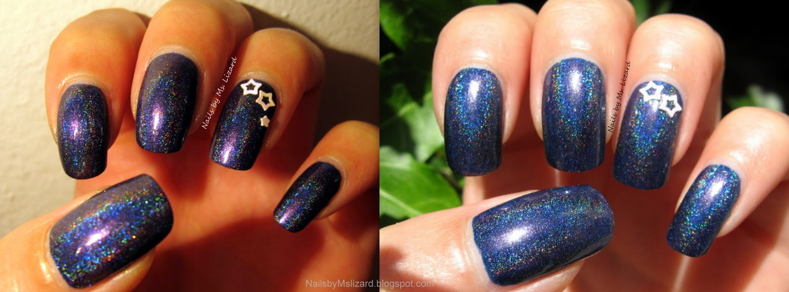 Nails by Ms. Lizard: Navy Holo Franken recipe