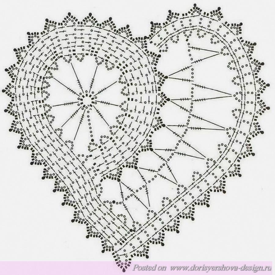 схема вязаных подушек сердца