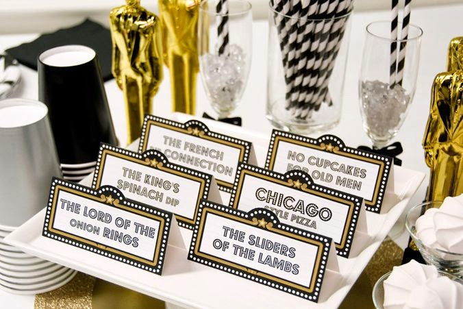 Quick And Stylish Oscars Viewing Party Decorating Ideas; table tents