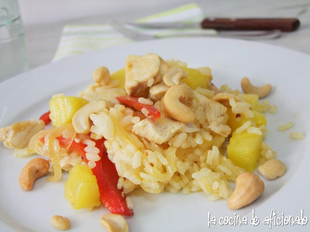La cocina de aficionado salteado de arroz con pollo y pi a - Arroz salteado con pollo ...