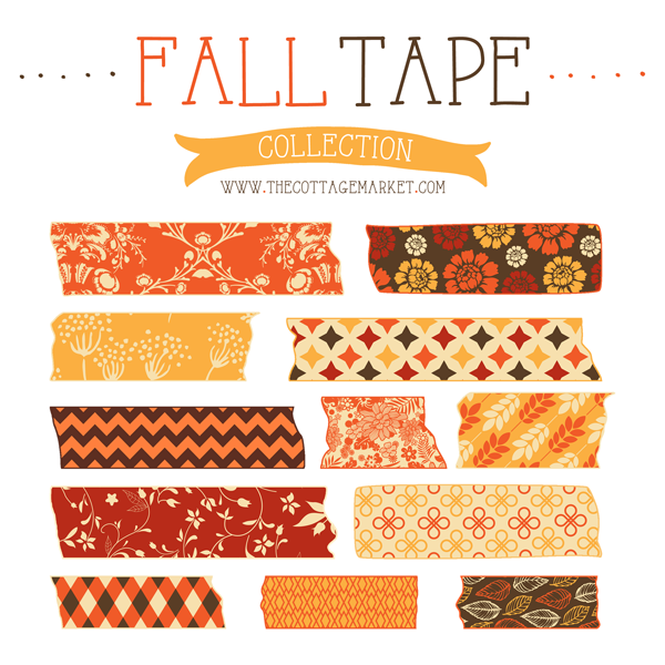 The fall tape collection is a free download for some fall scrapbooking fun!