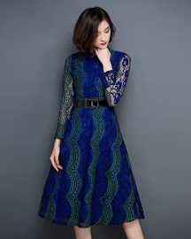 Blue/Red Long Sleeve Vertical Wavy Lace Flare Dress