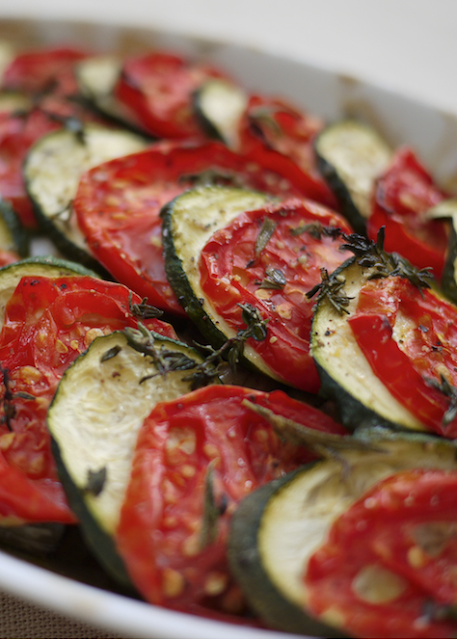 Scrumpdillyicious: Tomato and Zucchini Tian with Fresh Thyme & Feta