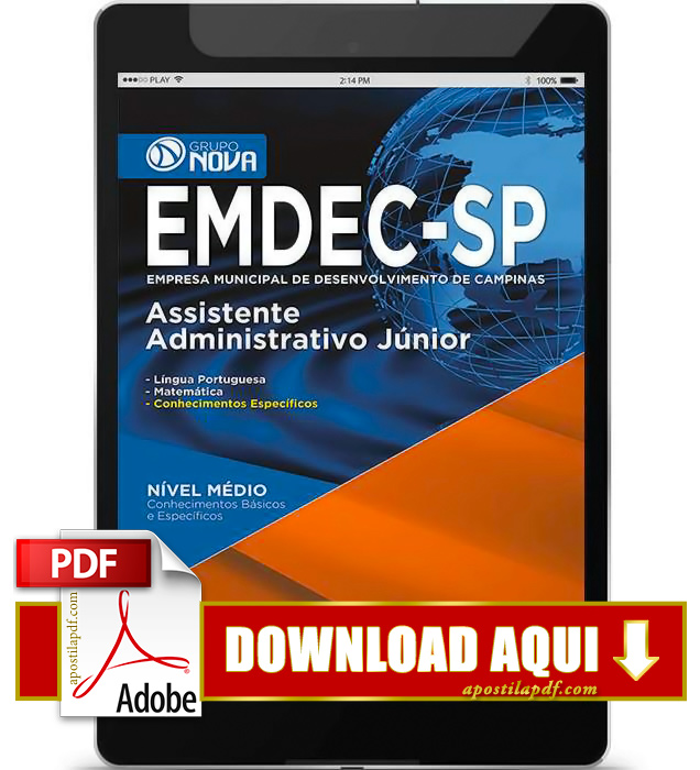 Apostila EMDEC 2015 PDF Download Assistente Administrativo