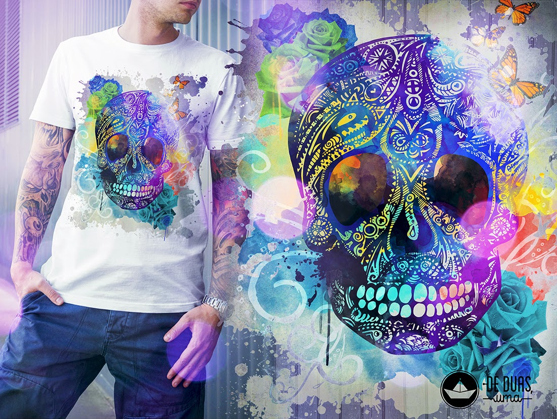 watercolor skull t-shirt design